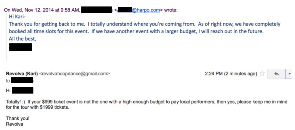 oprah tour email higher budget
